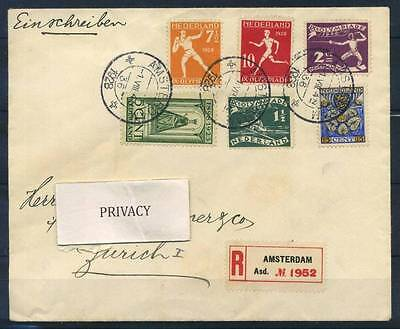 17-02-00049 - Netherlands 1928 Mi.  - COV 100% Cover Registered, Olympic Games,