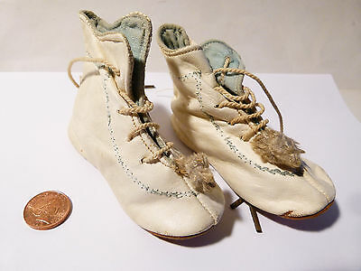 Antique Victorian Edwardian Leather Baby's Boots with Leather Soles Booties