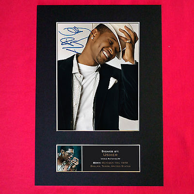 USHER Mounted Signed Photo Reproduction Autograph Print A4 166