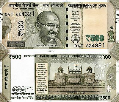 INDIA 500 Rupees Banknote World Paper Money UNC Currency Pick p-New 2016 Gandhi
