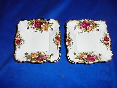 """2 ROYAL ALBERT """"old country roses"""" SQUARE DISHES"""