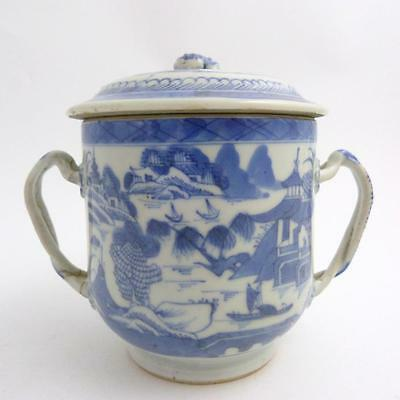 19th CENTURY CHINESE BLUE AND WHITE  PORCELAIN SUCRIER AND COVER