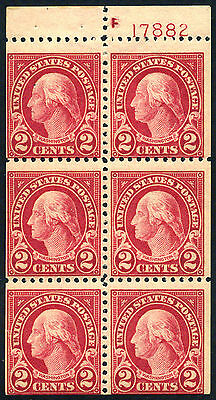 554c 2c Booklet Pane of 6 with Plate Number, NH Mint