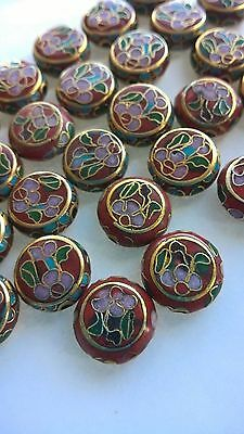 50+ Vintage 12x4 Cloisonne Coin Beads—Red w/Pink and Green Accents