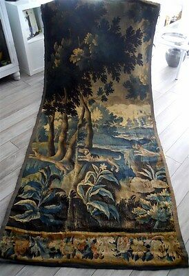 Tapestry verdure  Aubusson French antique dogs and fox 17th-century