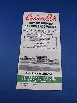 Travel Brochure Map Ontario Parks Bay Of Quinte - St. Lawrence Valley 1962