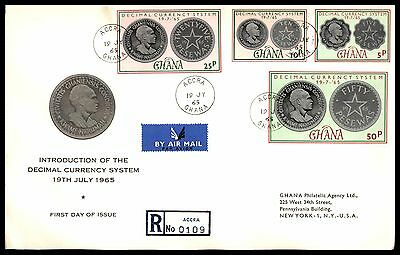 1965 Gold Coast Ghana Coins Set Reg First Day Cover Fdc First Day Cover