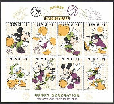 Nevis 1998 Disney/Mickey Mouse/Basketball/Sports/Games/Animation 8v sht (d00235)