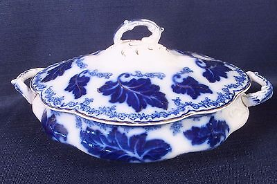 """Antique JOHNSON BROS. NORMANDY Flow Blue COVERED OVAL SERVING DISH 10 """""""