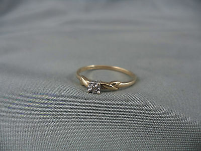Dainty 10k Yellow Gold Ring Size 7 Genuine Diamond Engagement Promise