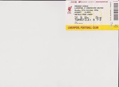 Manchester United Away  Ticket Stub V Liverpool 17Oct 2016 United End