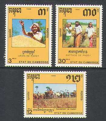 Cambodia 1990 Farming/Ox Cart/Cattle/Rice 3v set n21013