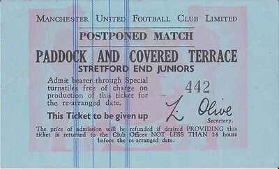 Manchester United  Replacement Postponed Match Ticket  Early 70S
