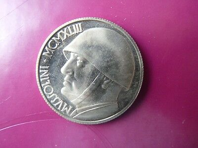 Token Medal Italy Benito Mussolini Plated Silver  Struck In 70`  C1986