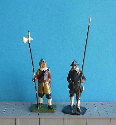 2 x UNKNOWN MAKER! 54mm Painted White Metal ENGLISH CIVIL WAR Roundhead Soldiers