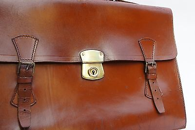 Lawyers Tan Leather English Cow Hide Briefcase Attache No Initials