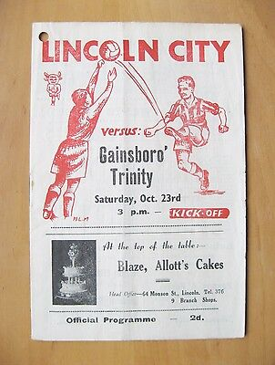 LINCOLN CITY Reserves v GAINSBOROUGH TRINITY 1948/1949 Good Condition Programme