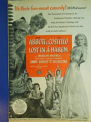 1944 Abbott Costello 'lost In A Harem' Marilyn Maxwell Jimmy Dorsey Mgm Movie Ad