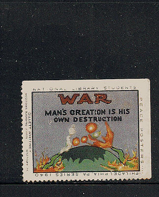 US 1940 WWI Anti-War Poster Stamps Peace National Library Students