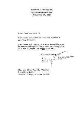 President Harry S. Truman 1971 Typed Letter Signed - To His Nephew