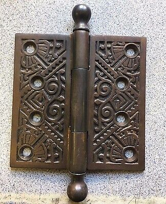 "Antique Eastlake Hinge 4"" x 4"" Old Door Hardware c1885 Ornate"