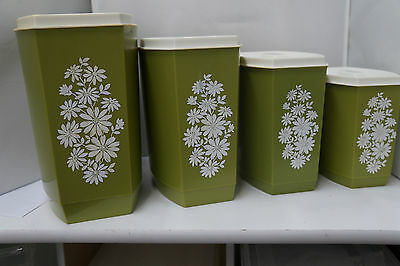 Retro Avacado Green Canister Set with White Flowers and Lids Mid Century