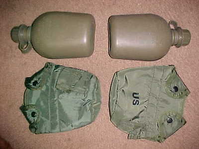 Lot Of 2 Us Gi Military Canteens & Canteen Covers