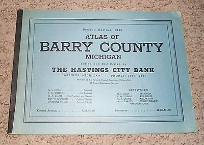 Vintage 1945 ATLAS BARRY COUNTY MICHIGAN plat maps advertising Hastings history