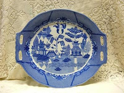 White Blue Willow Turkey Ham Serving Plate Platter Tray Asian Oriental