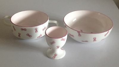 Penhaligons Hand Painted Breakfast Trio Bowl 2 Handled Cup And Eggcup Pink Bows