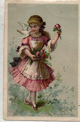 Victorian Girl with Flowers & Dove for Pearline Soap Vintage Trade Card