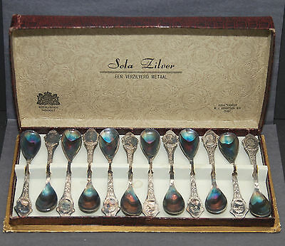Vintage PRINCESS JULIANA + PRINCE BERNHARD Queen Netherlands 12 Spoon Set 1944