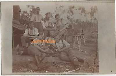 German WWI Soldiers Pause in Fighting Position Revin France Frontline Photo 408