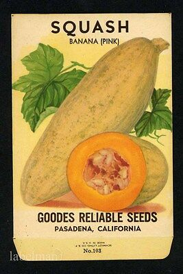 SQUASH, Goodes Reliable, Pasadena, Vintage Seed Packet, Kitchen Decor, 211