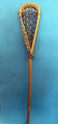 Great Indian Mohawk Lacrosse Stick Wood frame Decor Leather Rawhide Webbing 42""