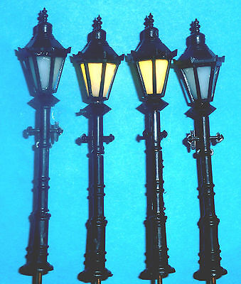 4 x OO Gauge Black 3Volt LED Street Lights for you Railway Layout 6.5cmTall:New:
