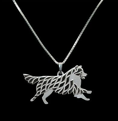 Australian Shepherd cattle dog  Silver pendant necklace dog collectible N90