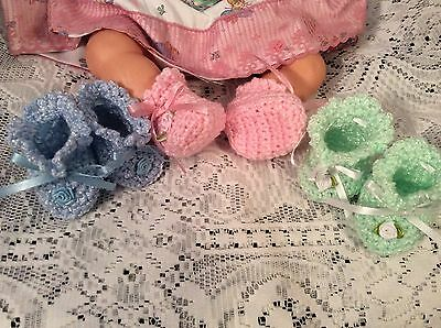 "Crochet Doll Booties For Large Baby Doll Thumbelina 2 1/2"" Foot (3 Pairs)"
