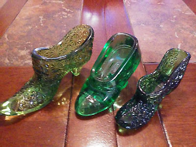 Lot Of 3 Different Glass Shoes