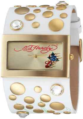 LOT OF 5 - NEED BATTERY Women's Ed Hardy LC-WG Love Child White Rose Gold Watch