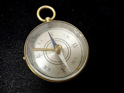 Vintage Brass Compass, Pocket Watch Style,  Made In France Ww2?