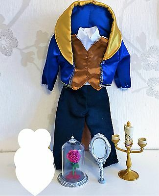 """Disney Store NEW! 12"""" Beast Classic Doll Outfit Rose Mirror Lumiere"""