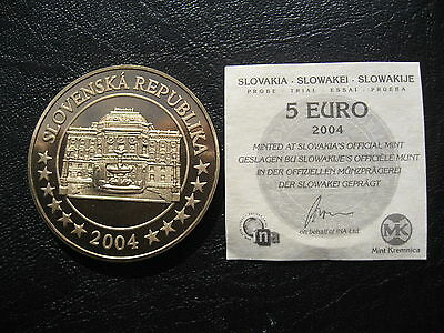 Slovakia Republic Proof Trial 5 Euros 2004 with a Certificate of Authentication.