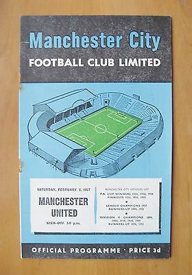 MANCHESTER CITY v MANCHESTER UNITED 1956/1957 Good Condition Football Programme