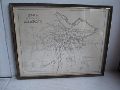 Vintage Map. 'plan Of The Town Of Reading'. 1800's?