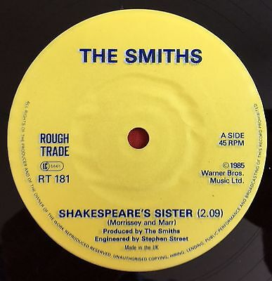 THE SMITHS  -Shakespears Sister- Rare mis-credit with Overstickered Label /Vinyl
