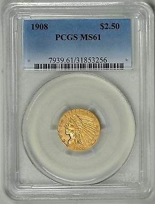 1908  $2.5 Gold Indian PCGS  MS61  *  Better Date  *  #31853256