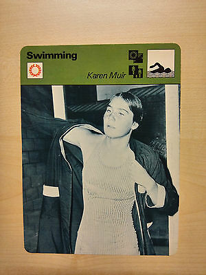 KAREN MUIR SOUTH AFRICAN SWIMMER Sportscaster Rencontre Fact Card -  Rare
