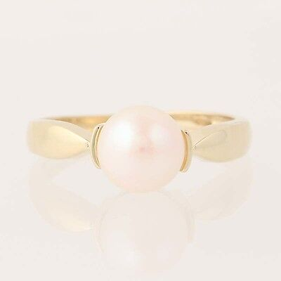 Cultured Pearl Ring - 10k Yellow Gold 7.7mm Solitaire Women's Size 7