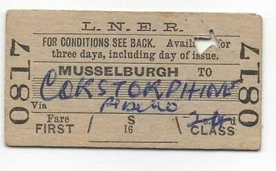 LNER single ticket Musselburgh to Corstorphine dated 1958